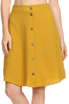Freebird Mustard Button-Up A-Line Skirt