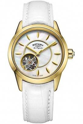 Rotary Ladies Jura skeleton watch with a white leather strap LS90513/41/L3G