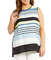 Vince Camuto Plus Stripe Harmony Knit Back Top