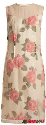 Maison Margiela Raw-edge Rose-print Organza Dress - Womens - Nude Print