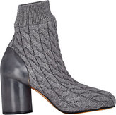 Maison Margiela WOMEN'S CABLE KNIT & LEATHER ANKLE BOOTS-GREY SIZE 9