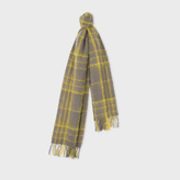 Paul Smith Women's Grey And Yellow Check Lambswool-Mohair Scarf