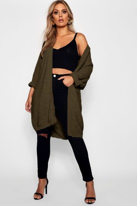 boohoo Plus Cocoon Oversized Rib Knit Cardigan