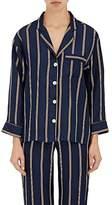 Sleepy Jones Women's Marina Striped Silk Pajama Shirt
