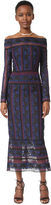 Yigal Azrouel Rose Embroidered Lace Midi Dress