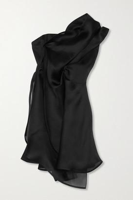Nina Ricci Asymmetric Gathered Silk-gazar Dress - Black