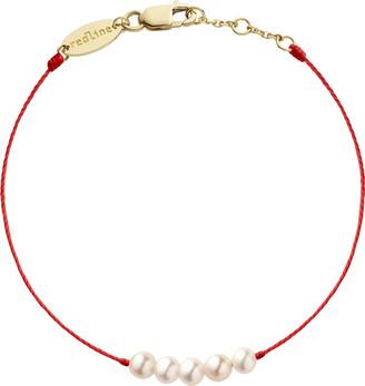 Redline Queen Red String Pearl Yellow Gold Bracelet