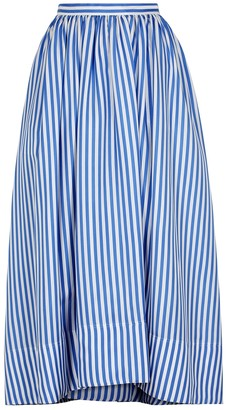 Jil Sander Striped gathered silk skirt