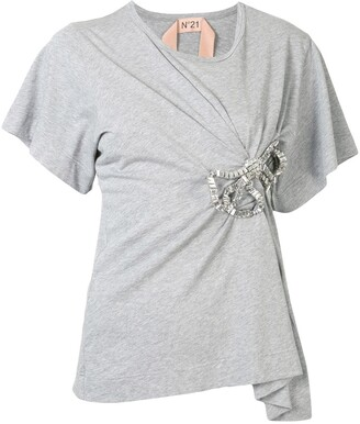 No.21 embellished bow T-shirt
