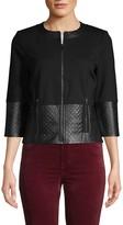 St. John Leather-Trim Double Ponte-Knit Jacket