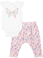 Cutie Pie Baby White & Pink Butterfly Bodysuit & Pants