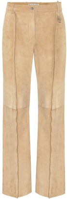 Acne Studios Mid-rise straight suede pants