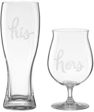 Kate Spade Two Of A Kind His & Hers Beer Glasses, Set of 2