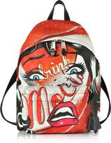 Moschino Drink Mocola Comic Girl Red Nylon Backpack