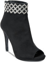 Caparros Electra Embellished-Cuff Peep-Toe Booties