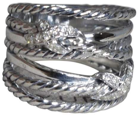 David Yurman 925 Sterling Silver with Diamond Crossover Double X Ring Size 7