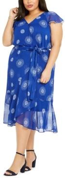Tommy Hilfiger Plus Size Printed Chiffon Fit & Flare Dress