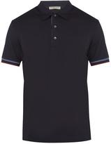 Bottega Veneta Contrast-cuff cotton-jersey polo shirt