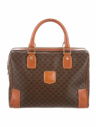 Celine Vintage Macadam Triomphe Boston Bag Brown