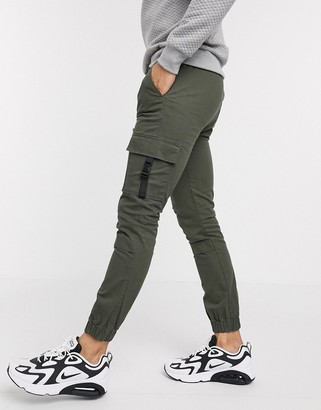 ASOS DESIGN super skinny cargo cuffed joggers in khaki