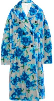 Jil Sander Double-breasted Floral-print Mohair And Cotton-blend Coat