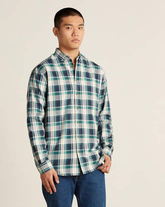 Farah Button-Down Twill Plaid Sport Shirt
