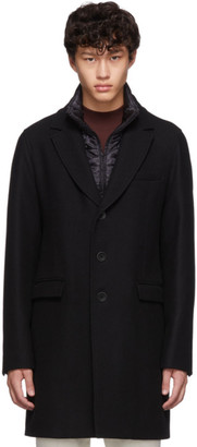 Herno Black Diagonal Wool Coat