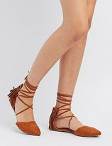 Charlotte Russe Fringed Pointed Toe D'Orsay Flats