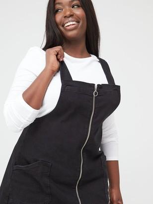 V By Very Curve Zip Detail Denim Pinafore Dress - Black Wash
