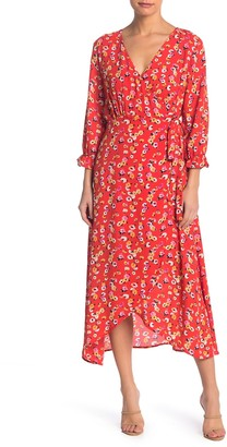Bobeau High/Low Midi Wrap Dress
