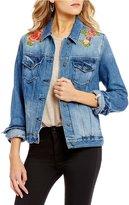 Miss Me Destructed Rose Embroidered Denim Jacket