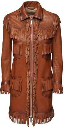 DSQUARED2 Fringed Leather Coat