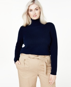 Charter Club Plus Size Cashmere Turtleneck Sweater, Created for Macy's
