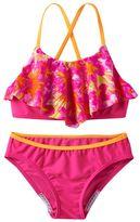 Speedo Girls 7-16 Jungle Floral Ruffle Bikini Swimsuit Set