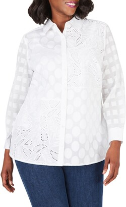 Foxcroft Mixed Texture Cotton Button-Up Shirt