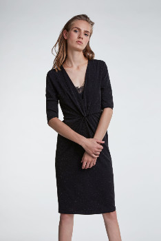 Set Fashion - Black Lurex Fitted Knee Length Dress - 34/UK8 | black - Black/Black