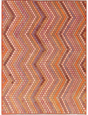 "Rugsource One-of-a-Kind Turkish Handwoven Flatweave 8'5"" x 11'3"" Wool Orange Geometric Area Rug Rugsource"