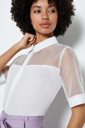 Coast Organza Collar Short Sleeve Blouse