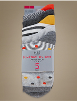 M&S Collection 5 Pair Pack Supersoft Ankle Socks