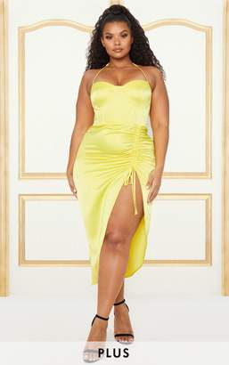 PrettyLittleThing Plus Yellow Satin Corset Detail Ruched Side Midi Dress