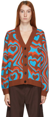 MSGM Brown and Blue Wool Cardigan