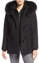 George Simonton Women's Wool Blend Duffle Coat With Genuine Fox Fur Trim