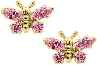 Mignonette Butterfly Birthstone Gold Earrings