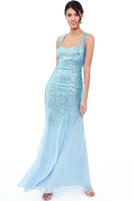 Goddiva Powder Blue Criss Cross Back Sequin Maxi Dress