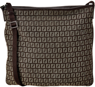 Fendi Brown Zucchino Canvas Shoulder Bag