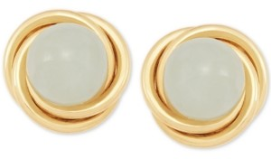Macy's Jade (6mm) Button Knot Stud Earrings in 10k Gold
