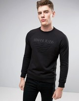 Armani Jeans Emboss Logo Sweat Crewneck Regular Fit in Black