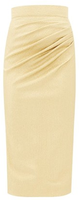 Dolce & Gabbana Ruched Silk-blend Lame Midi Skirt - Womens - Gold