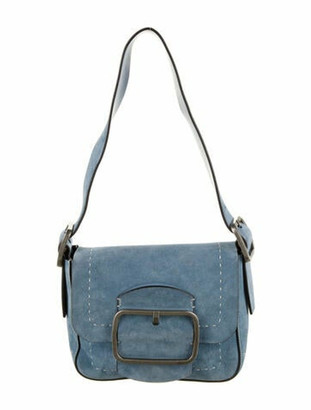 Tory Burch Sawyer Suede Small Shoulder Bag Blue