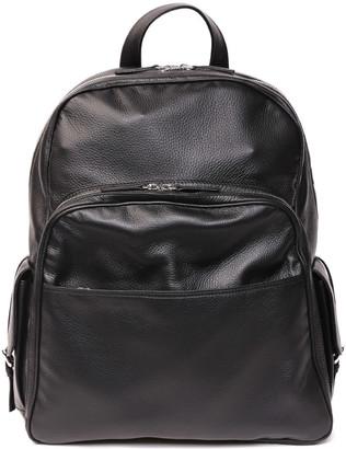 Eleventy Black Leather Big Backpack